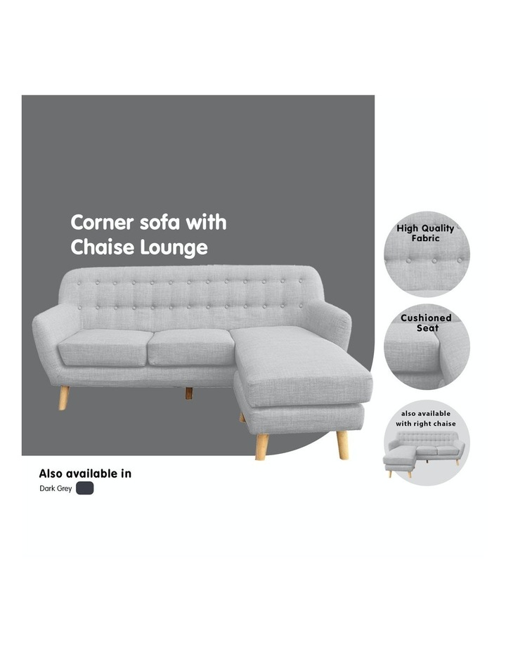 Linen Corner Sofa Couch Lounge L-shaped w/ Chaise Light Grey image 5