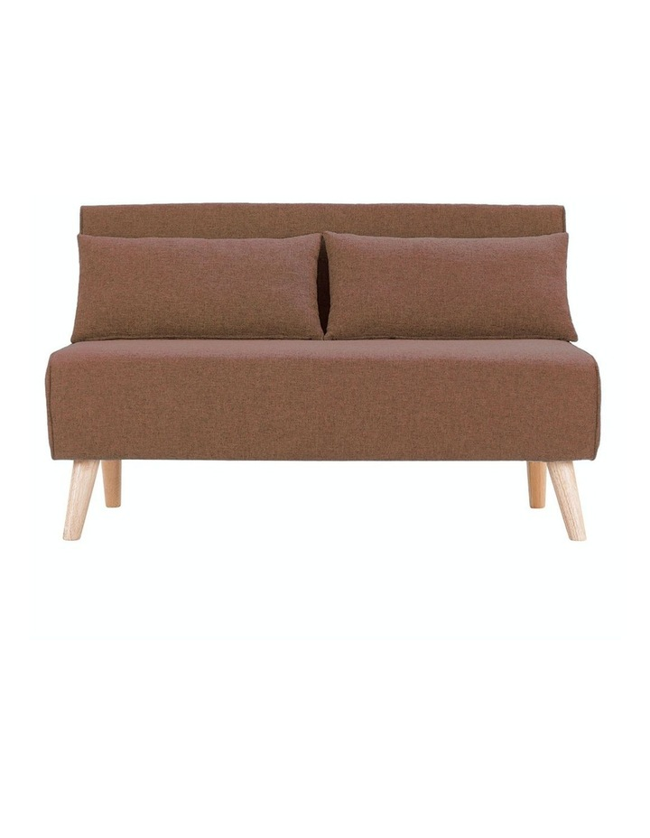 Adjustable 2 Seater Sofa Lounge Linen Bed Seat - Brown image 1