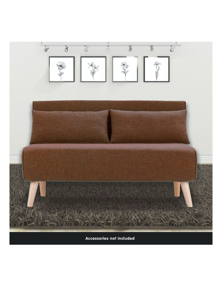 Adjustable 2 Seater Sofa Lounge Linen Bed Seat - Brown image 2