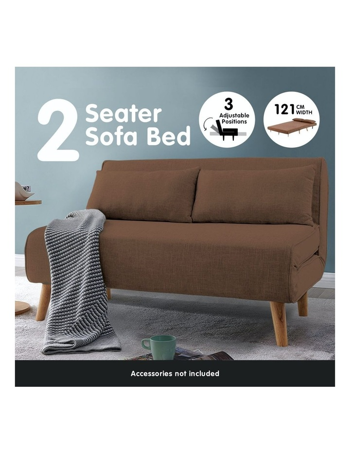 Adjustable 2 Seater Sofa Lounge Linen Bed Seat - Brown image 5