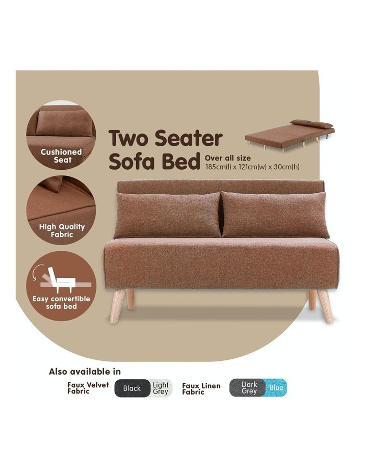 Adjustable 2 Seater Sofa Lounge Linen Bed Seat - Brown image 6