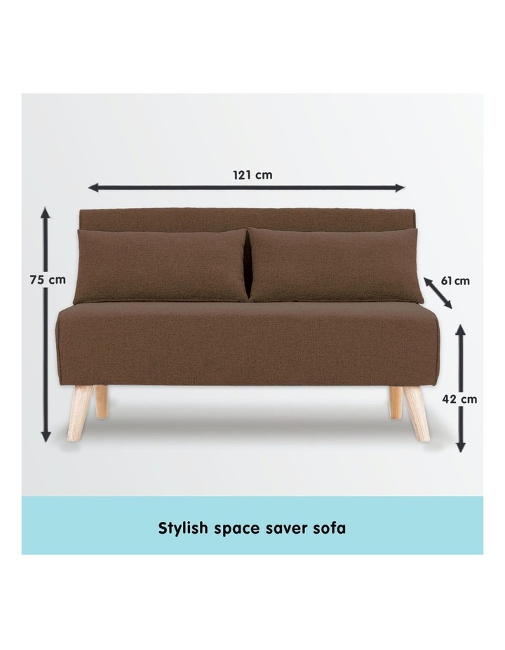 Adjustable 2 Seater Sofa Lounge Linen Bed Seat - Brown image 7
