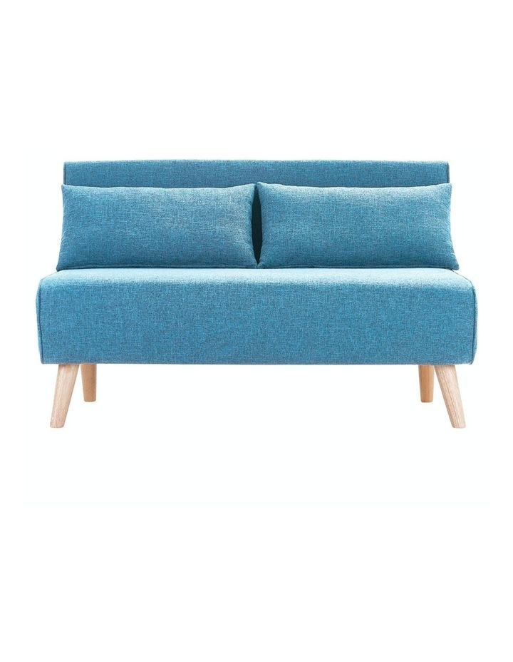 Adjustable Corner Sofa 2-Seater Lounge Linen Bed Seat - Blue image 1