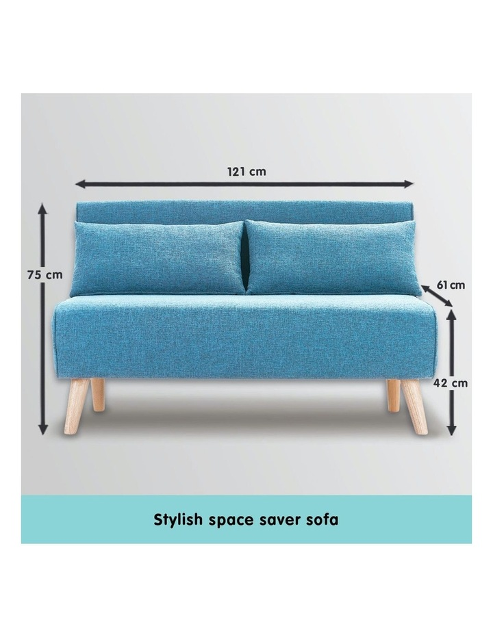 Adjustable Corner Sofa 2-Seater Lounge Linen Bed Seat - Blue image 3