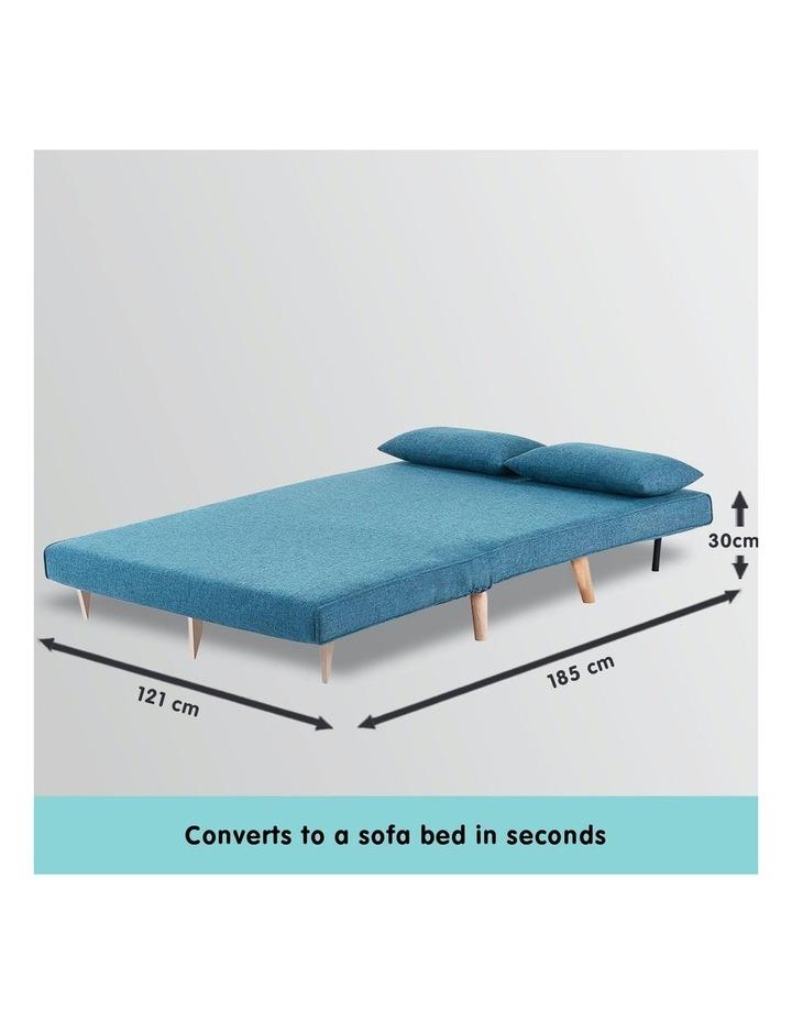 Adjustable Corner Sofa 2-Seater Lounge Linen Bed Seat - Blue image 4