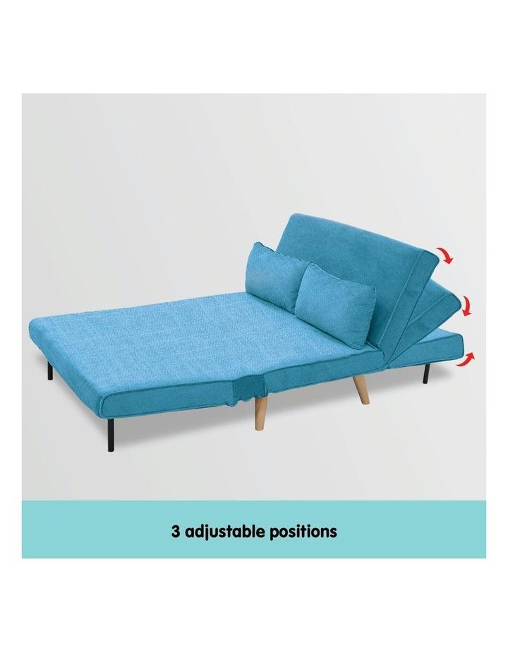 Adjustable Corner Sofa 2-Seater Lounge Linen Bed Seat - Blue image 5