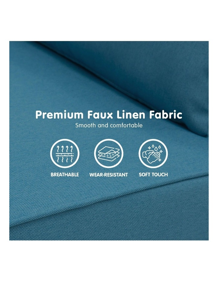 Adjustable Corner Sofa 2-Seater Lounge Linen Bed Seat - Blue image 6