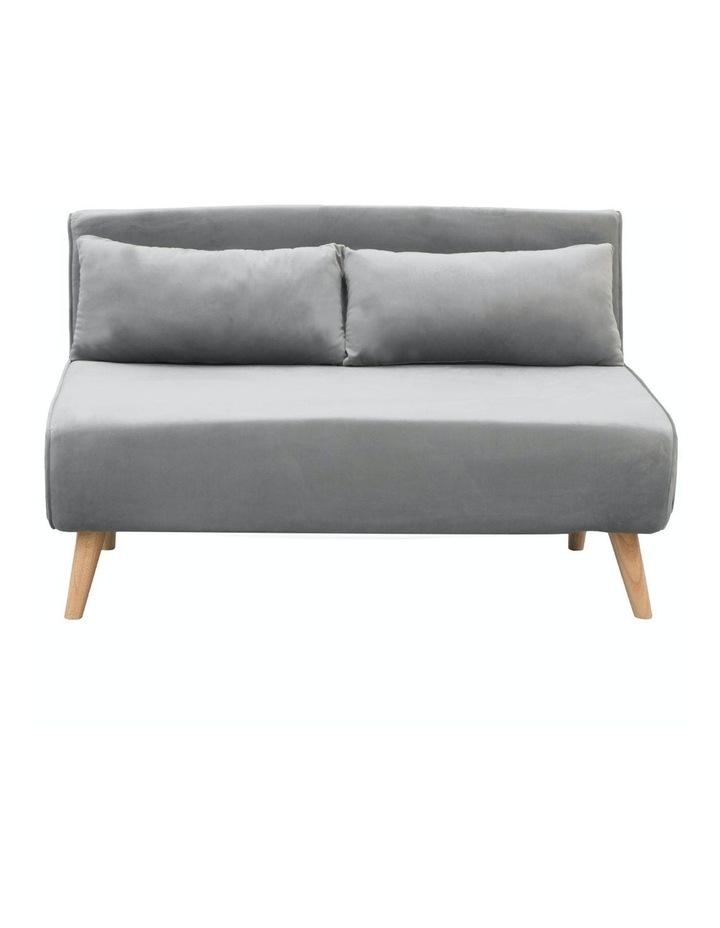 2-Seater Adjustable Sofa Bed Lounge Faux Velvet - Light Grey image 1