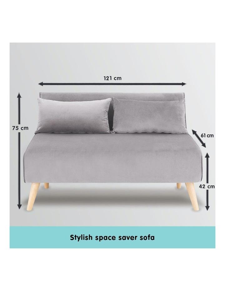 2-Seater Adjustable Sofa Bed Lounge Faux Velvet - Light Grey image 3