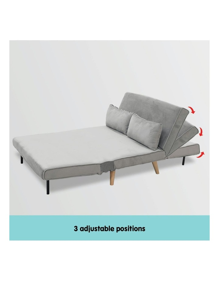 2-Seater Adjustable Sofa Bed Lounge Faux Velvet - Light Grey image 5