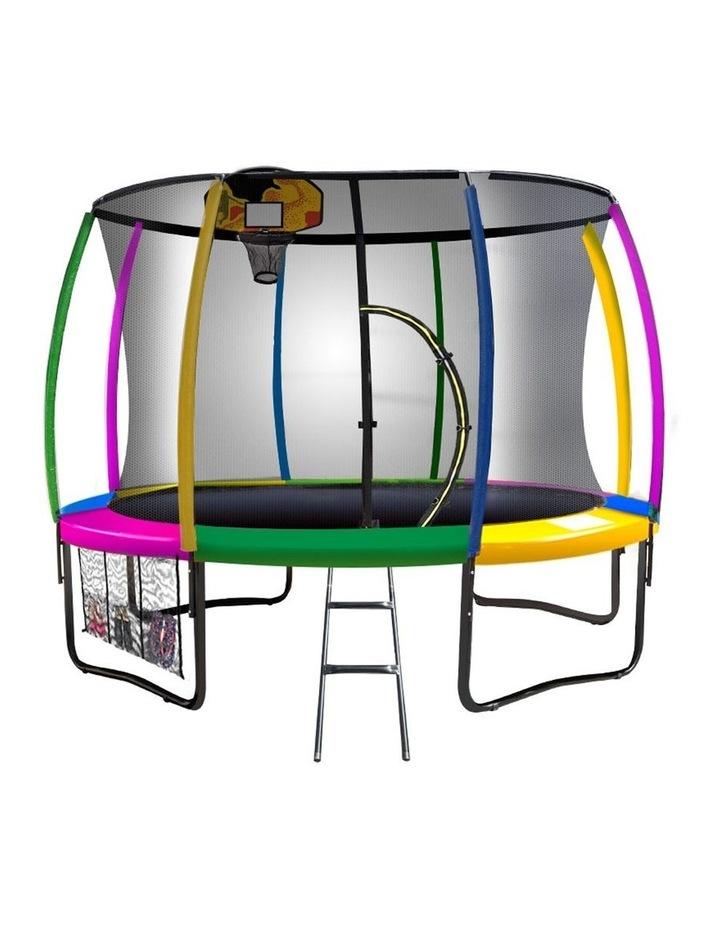 8ft Kahuna Trampoline Safety Net Spring Pad Cover Mat Ladder Free Basketball Set image 1