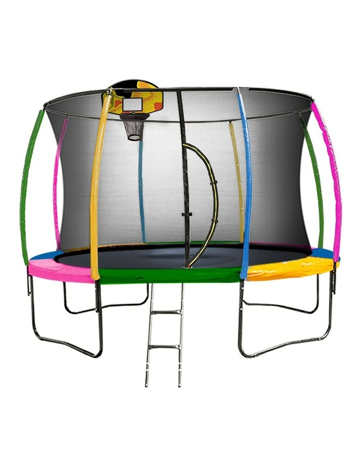 Trampoline 12 ft with Basketball set - Rainbow image 1