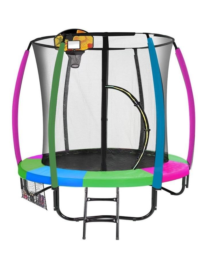 Trampoline 6ft with Basketball Set Mat Pad Net Ladder- Rainbow image 1