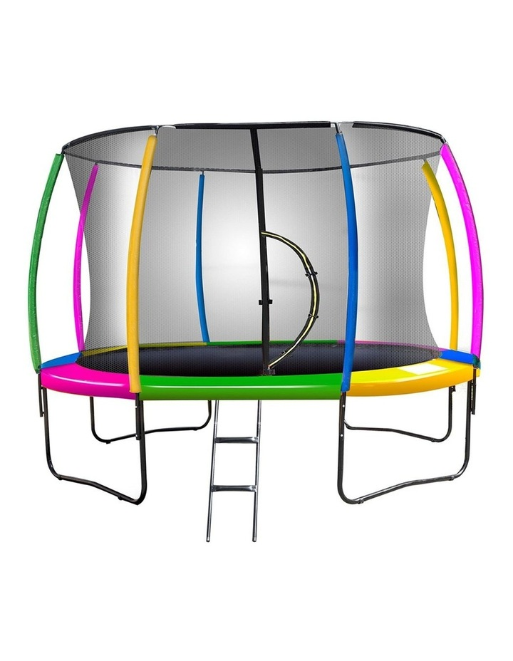 Rainbow 12ft Trampoline With Mat Pad Net Ladder- Rainbow image 1