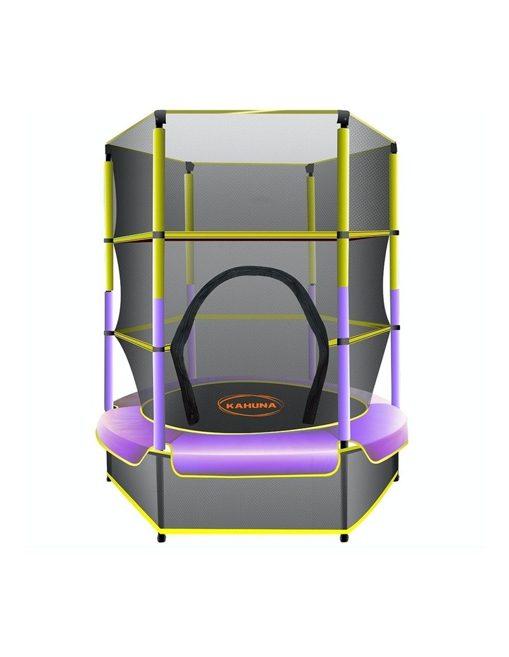 4.5ft Trampoline Round Free Safety Net Spring Pad Cover Mat Outdoor Yellow Purple image 1