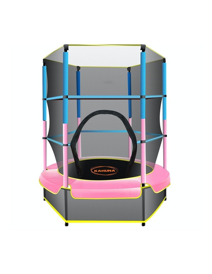 4.5ft Trampoline Round Free Safety Net Spring Pad Cover Mat Outdoor Blue Pink image 1