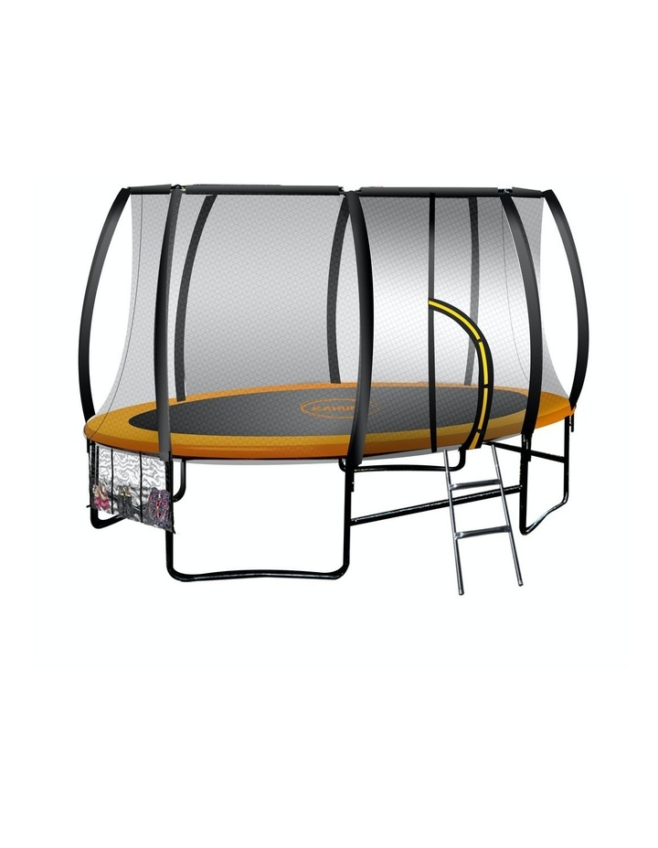 Trampoline 8 Ft X 14ft Oval Outdoor With Mat Pad Net Ladder- Orange image 1