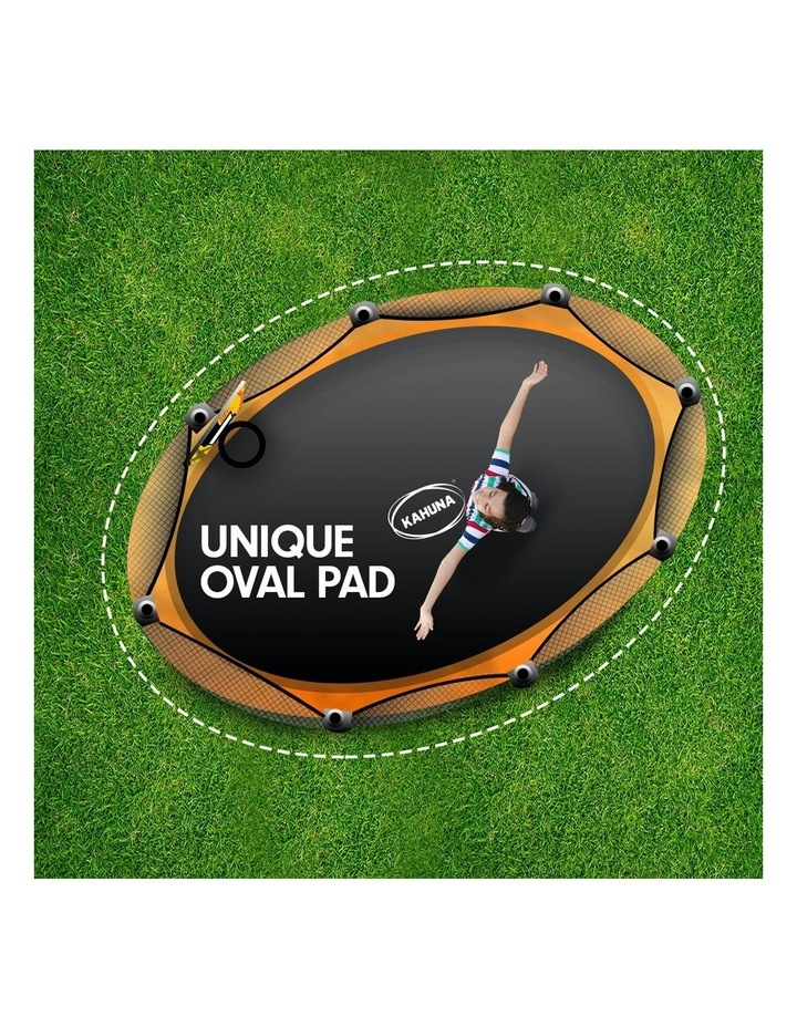 Trampoline 8 Ft X 14ft Oval Outdoor With Mat Pad Net Ladder- Orange image 3
