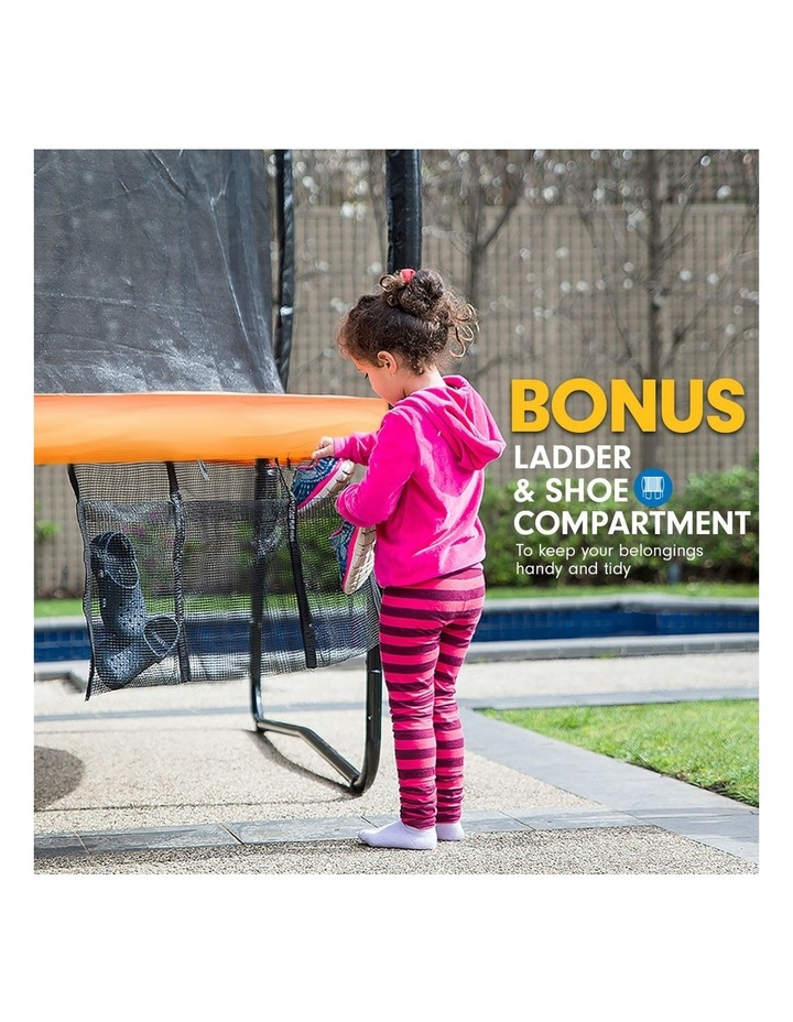 Trampoline 8 Ft X 14ft Oval Outdoor With Mat Pad Net Ladder- Orange image 7