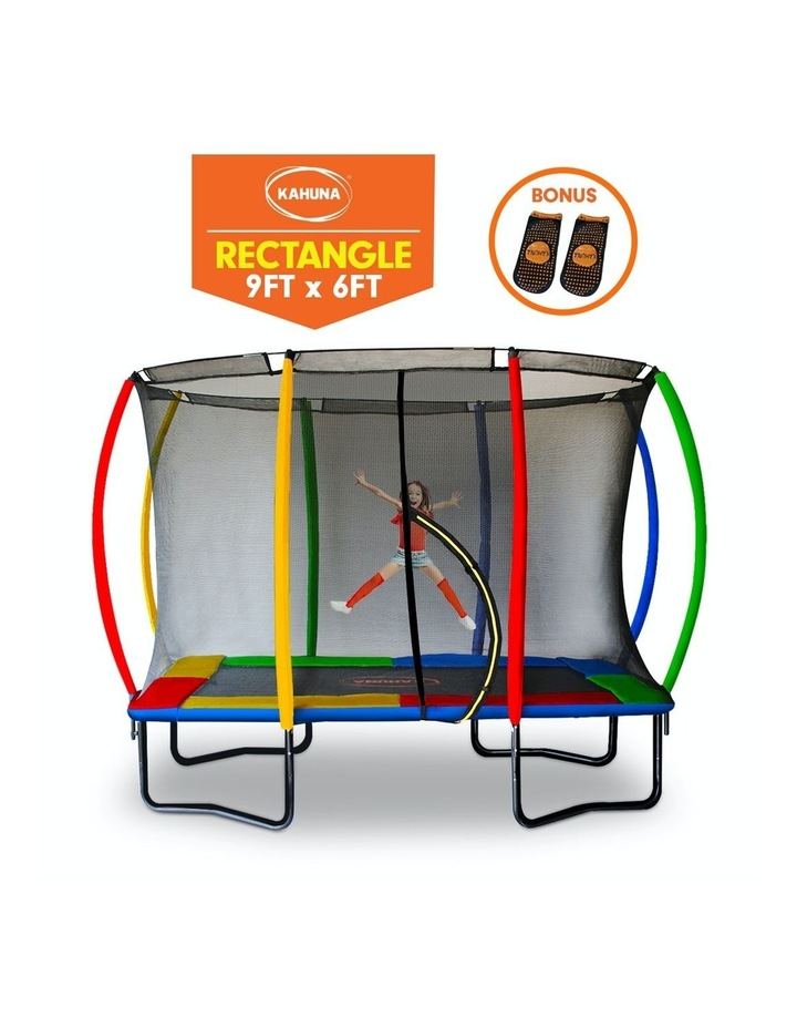 Trampoline 6 Ft X 9 Ft Rectangular Outdoor with Mat Pad Net - Rainbow image 2