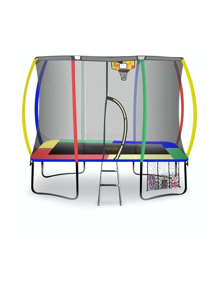 Trampoline 6 Ft X 9 Ft Rectangular Outdoor With Mat Pad Net- Rainbow image 1