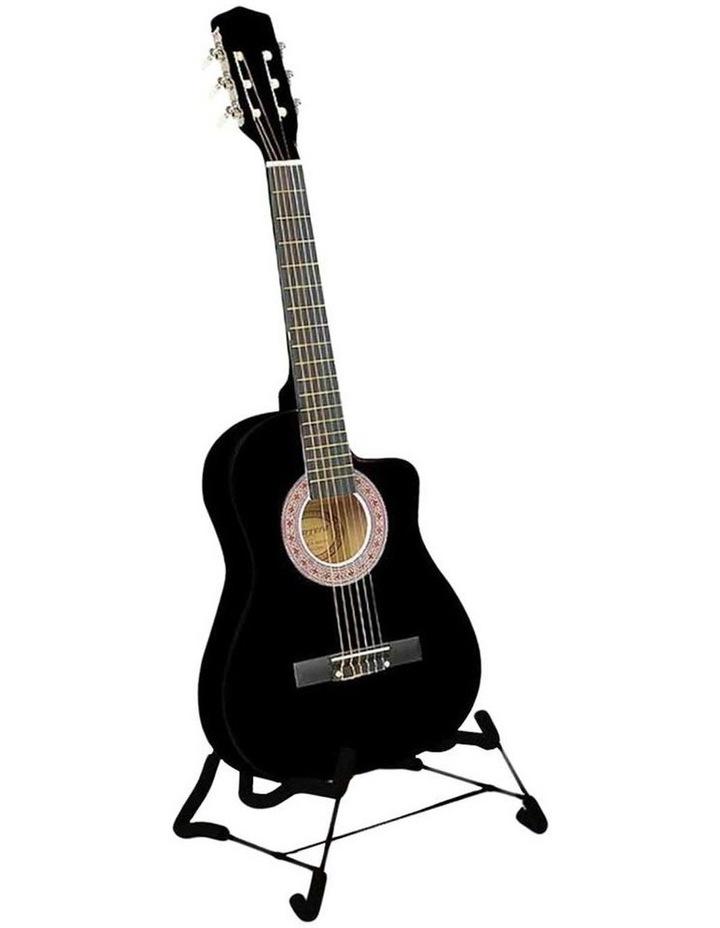 38in Pro Black Acoustic Guitar With Picks Tuner Steel String Bag image 1