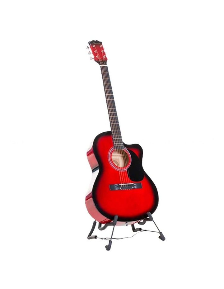 38in Pro Acoustic Guitar Picks Tuner Stand Strings Bag Capo Strap Red image 1