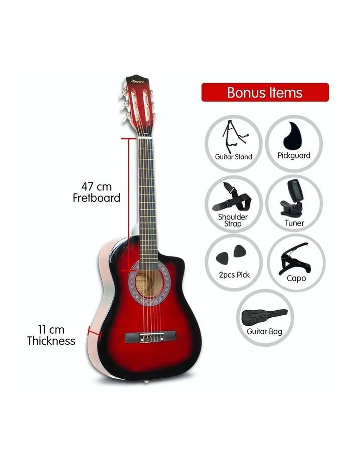 38in Pro Acoustic Guitar Picks Tuner Stand Strings Bag Capo Strap Red image 2