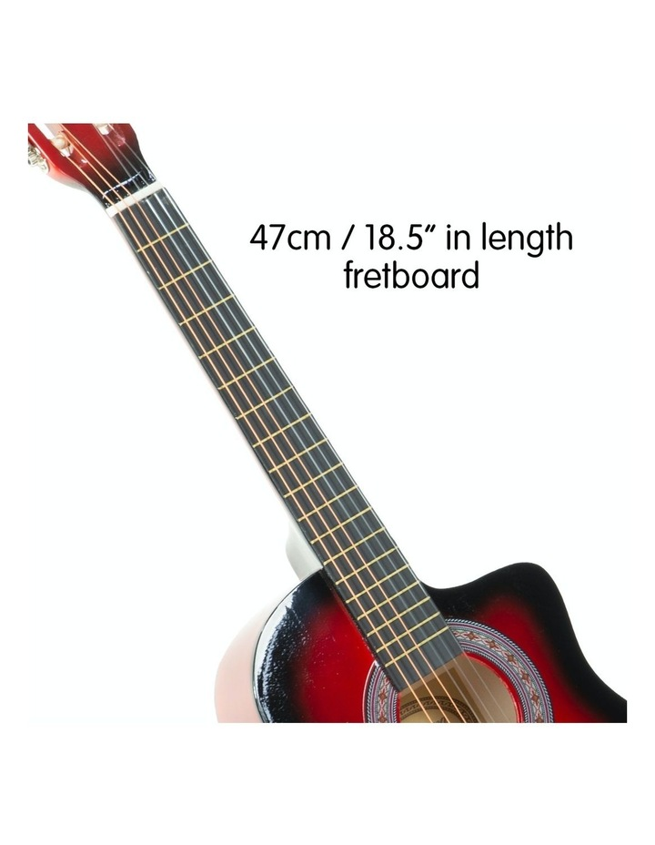 38in Pro Acoustic Guitar Picks Tuner Stand Strings Bag Capo Strap Red image 3