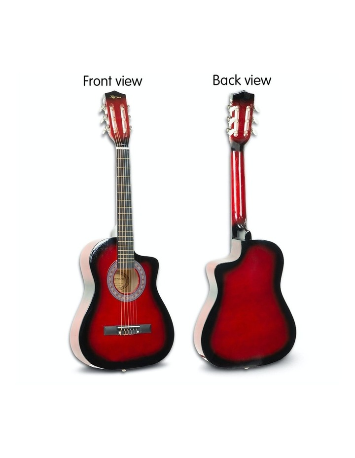 38in Pro Acoustic Guitar Picks Tuner Stand Strings Bag Capo Strap Red image 5