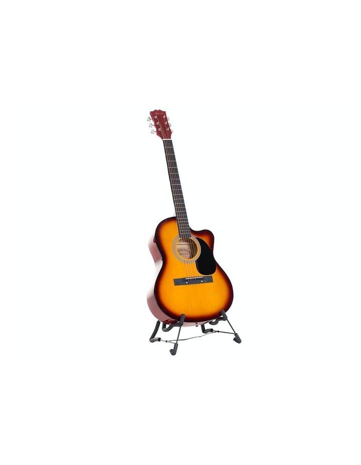 40in Acoustic Cutaway Guitar Bag Strings Picks Winder Strap Sun-burst image 1