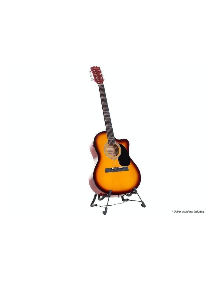40in Acoustic Cutaway Guitar Bag Strings Picks Winder Strap Sun-burst image 2