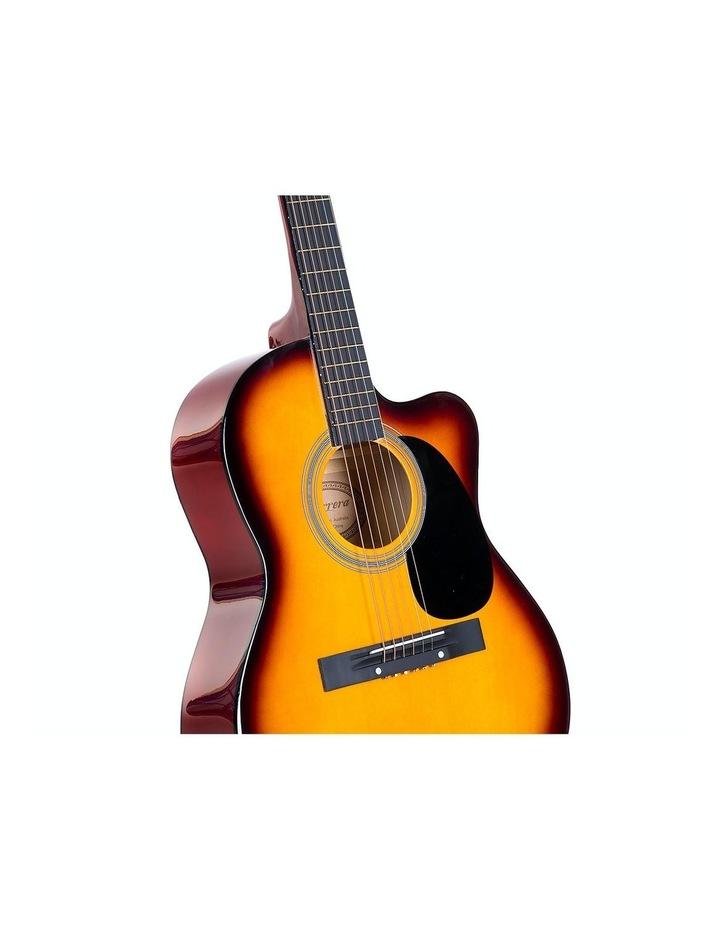 40in Acoustic Cutaway Guitar Bag Strings Picks Winder Strap Sun-burst image 3