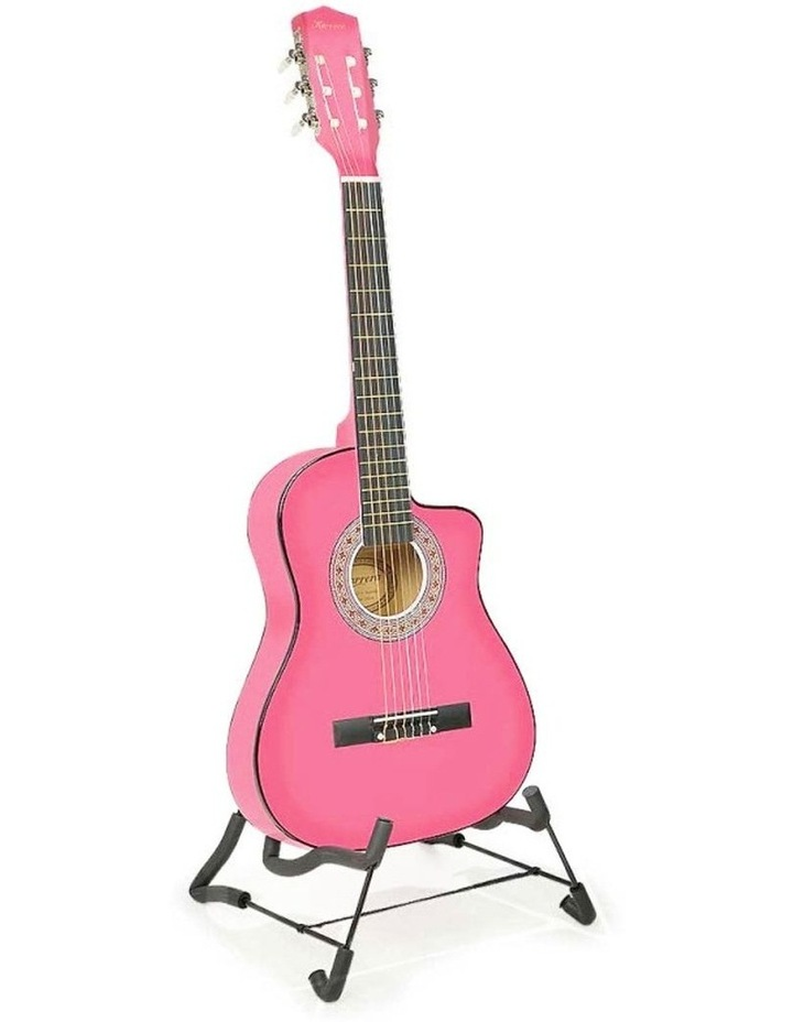 38in Pink Acoustic Guitar With Pick Guard Steel String Bag image 1