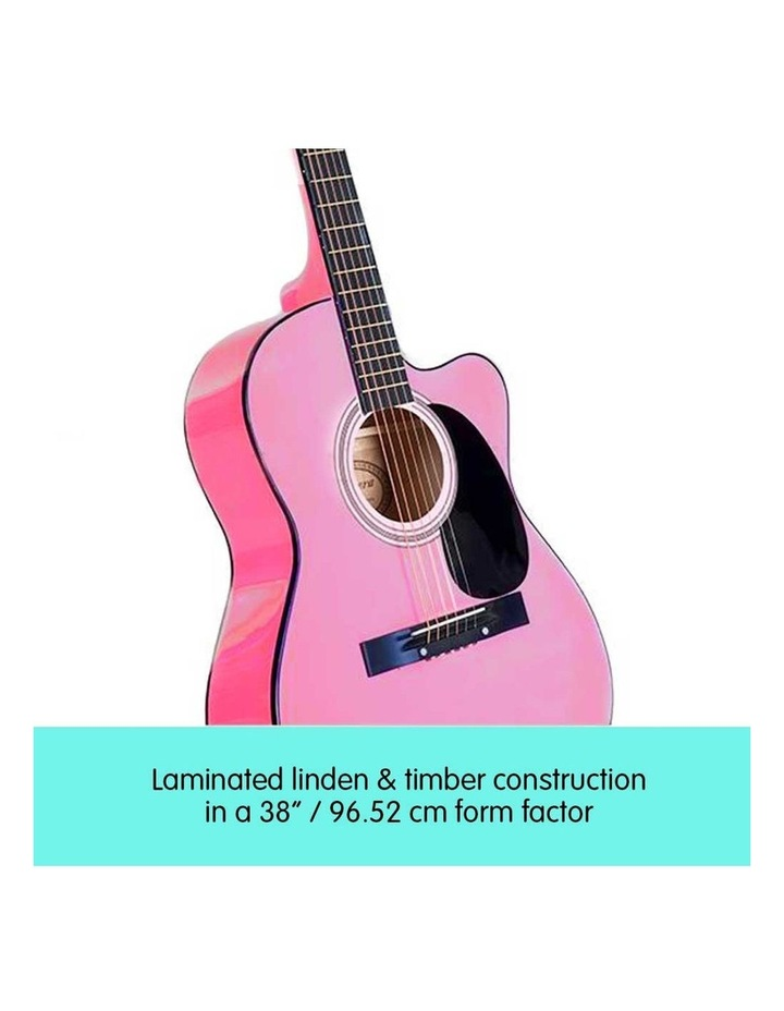 38in Pink Acoustic Guitar With Pick Guard Steel String Bag image 3
