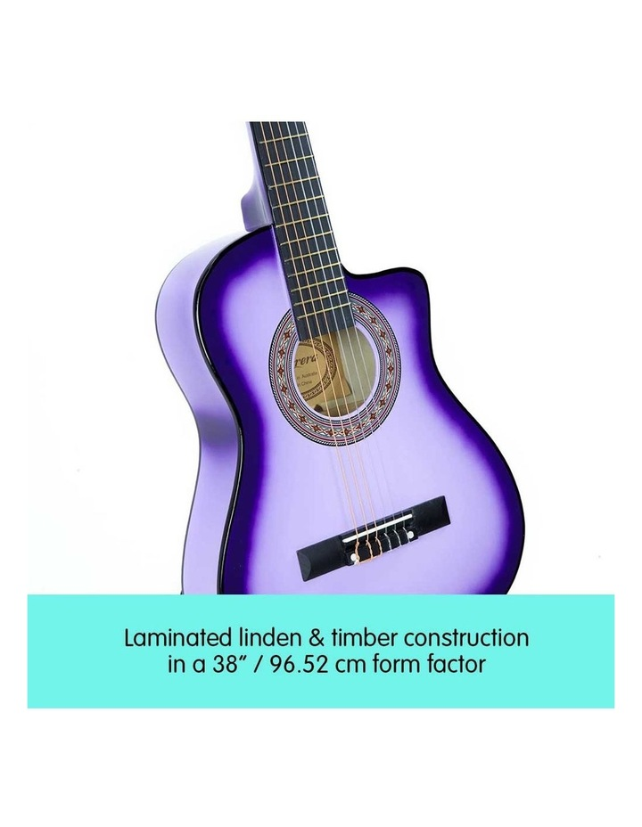 38in Purple Burst Acoustic Guitar With Pick Guard Steel String Bag image 4
