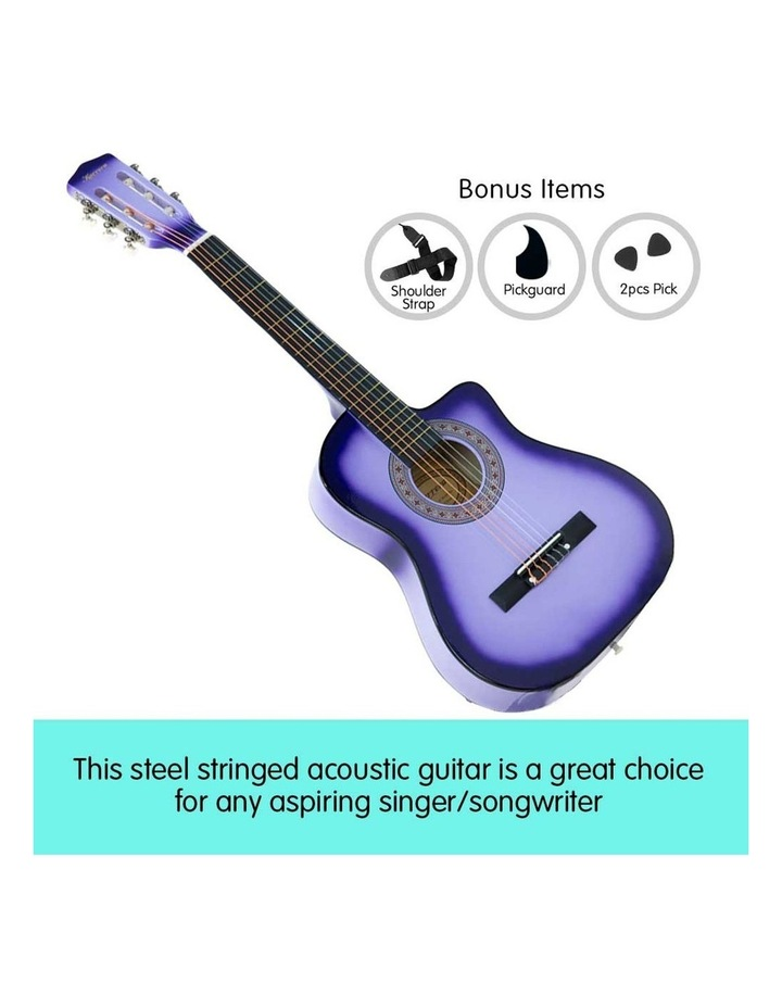 38in Purple Burst Acoustic Guitar With Pick Guard Steel String Bag image 7