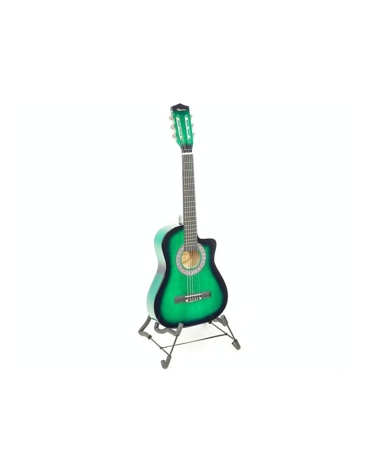 Childrens Acoustic Cutaway  Wooden Guitar Ideal Kids Gift 1/2 Size Green image 1