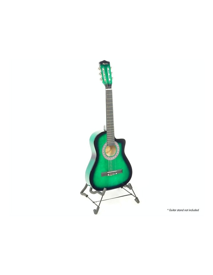Childrens Acoustic Cutaway  Wooden Guitar Ideal Kids Gift 1/2 Size Green image 2