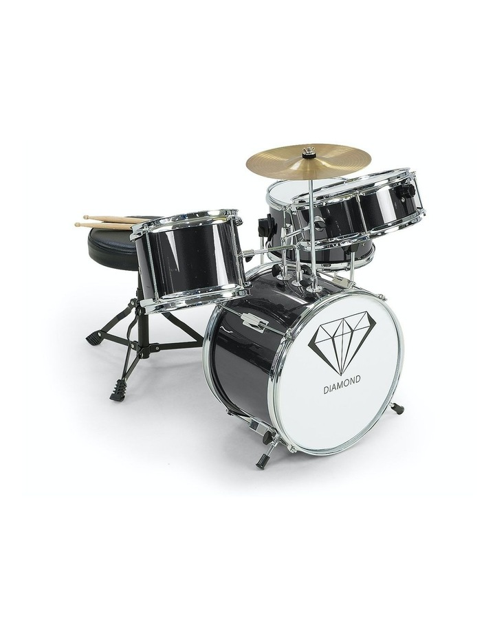 Childrens 4 Piece Black Diamond Drum Kit Set Musical Instrument Black image 1