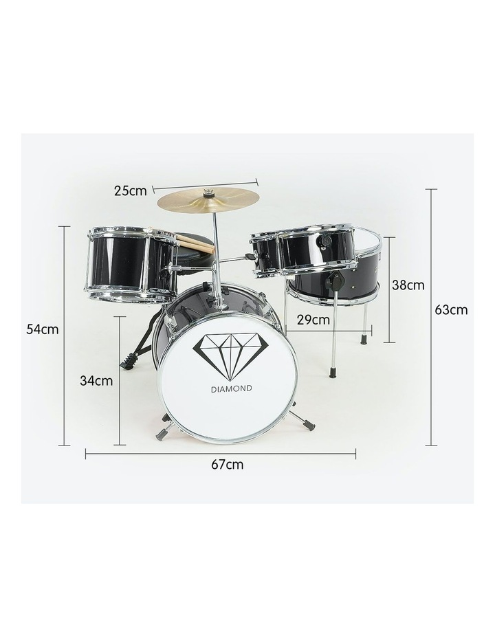 Childrens 4 Piece Black Diamond Drum Kit Set Musical Instrument Black image 3