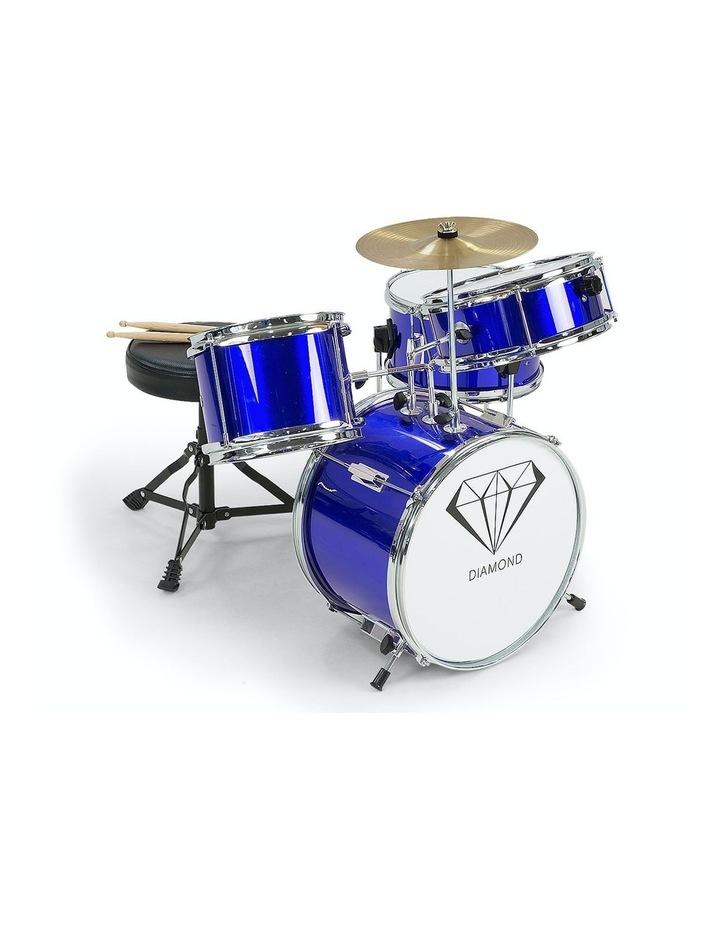 Childrens kids4 Piece Blue Diamond Drum Kit Set Musical Instrument image 1