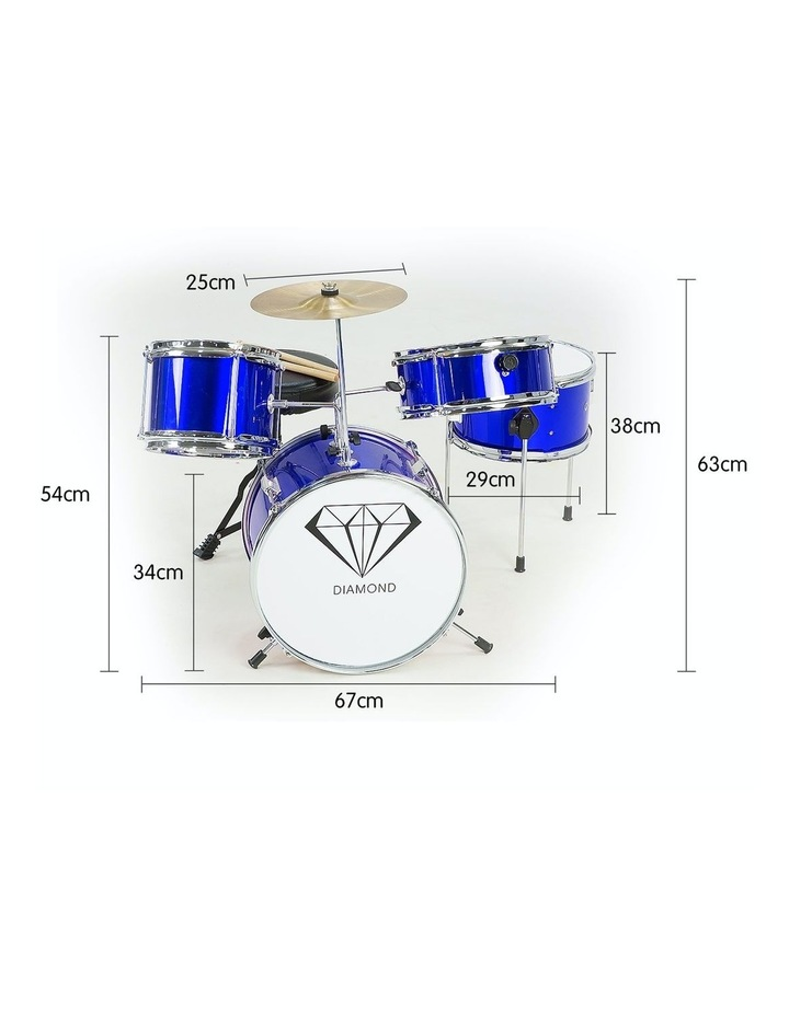 Childrens kids4 Piece Blue Diamond Drum Kit Set Musical Instrument image 3