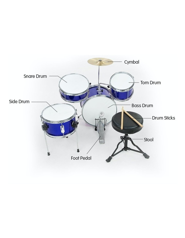 Childrens kids4 Piece Blue Diamond Drum Kit Set Musical Instrument image 5