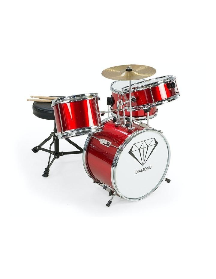 Childrens 4 Piece Red Diamond Drum Kit Set Musical Instrument Kids Percussion image 1