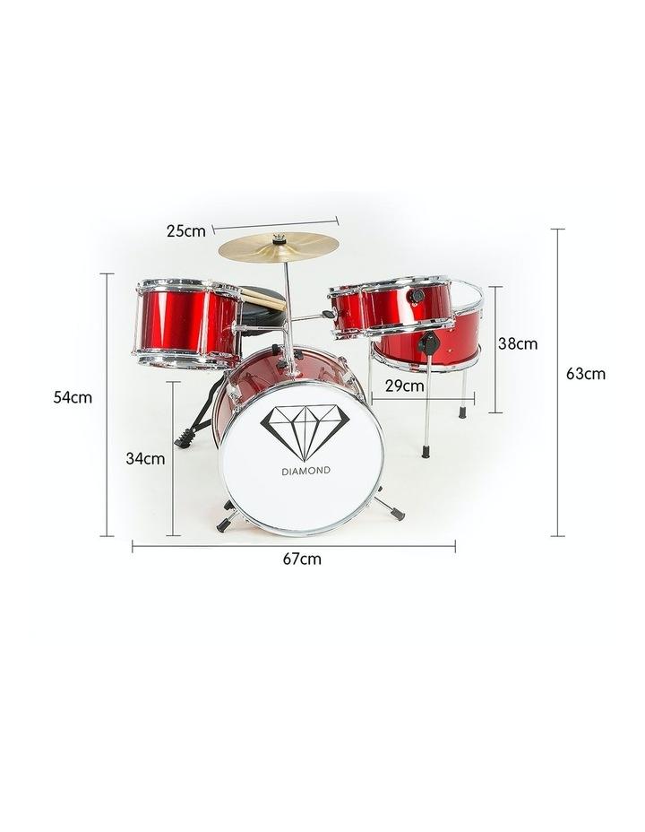 Childrens 4 Piece Red Diamond Drum Kit Set Musical Instrument Kids Percussion image 3