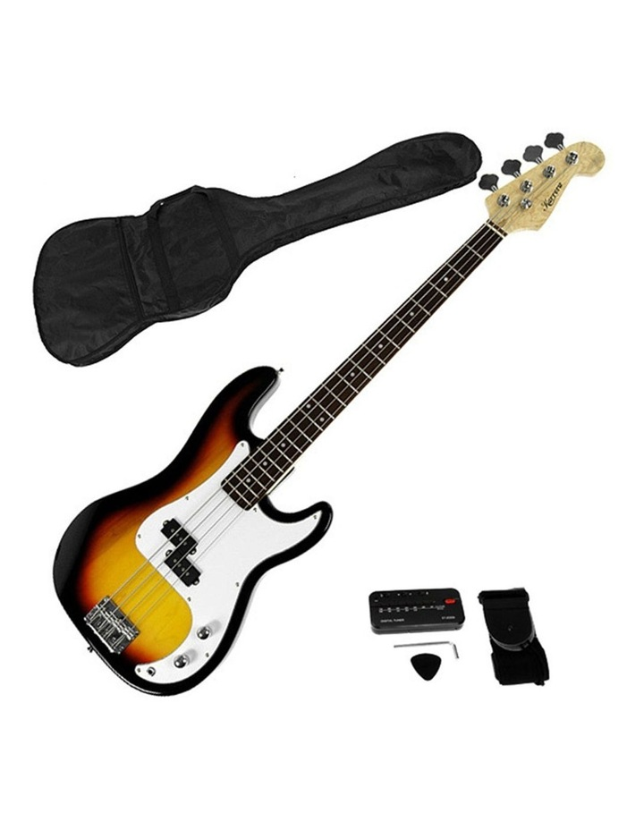 New Sunburst Electric Bass Guitar Electronic Tuner Stand Strap Bag image 1