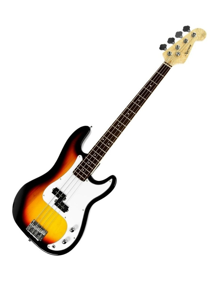 New Sunburst Electric Bass Guitar Electronic Tuner Stand Strap Bag image 5