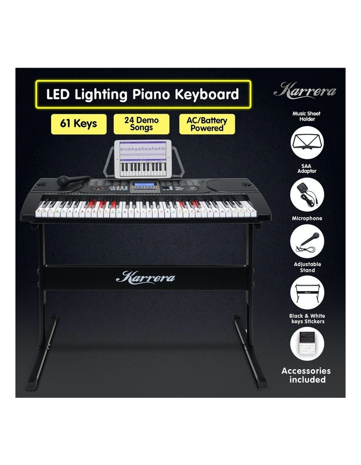 Karrera 61 Led Key Electronic Keyboard Teaching Piano Electric Music Stand image 3