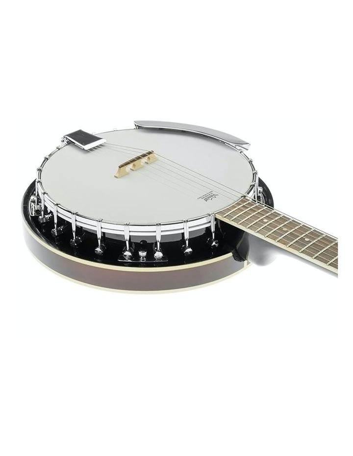 6 String Bluegrass Resonator Banjo Gloss Black Brown image 2